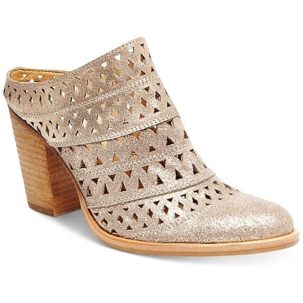 Steve Madden Women's Harmony Perforated Block-Heel Mules ($109) ❤ liked on  Polyvore