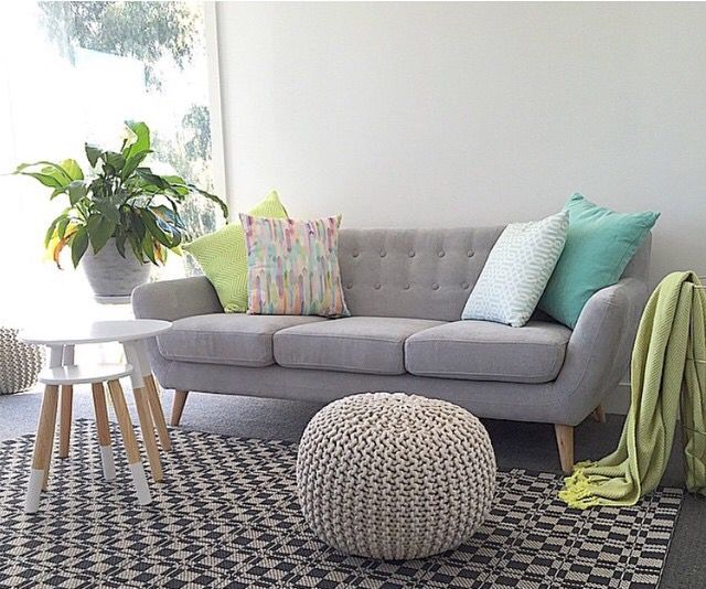 from featuring the Kmart white dipped stool and ottoman. Such a beautifully  styled space! - Like The Colours. Sofa Is Really Nice Too But Not Sure If Too