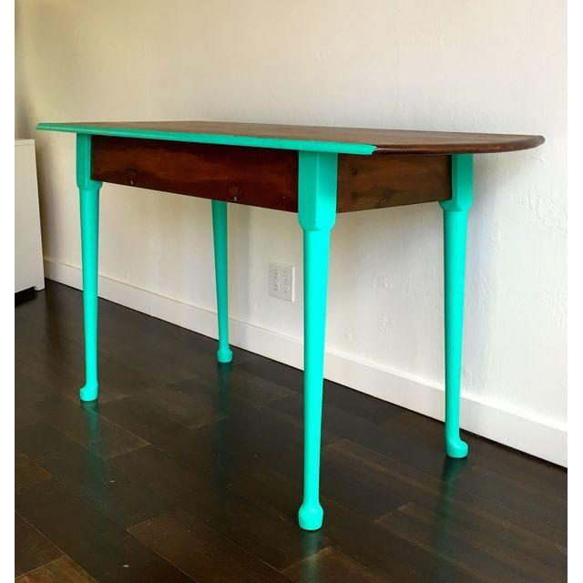 Image of Two Toned Brown & Turquoise Console Table