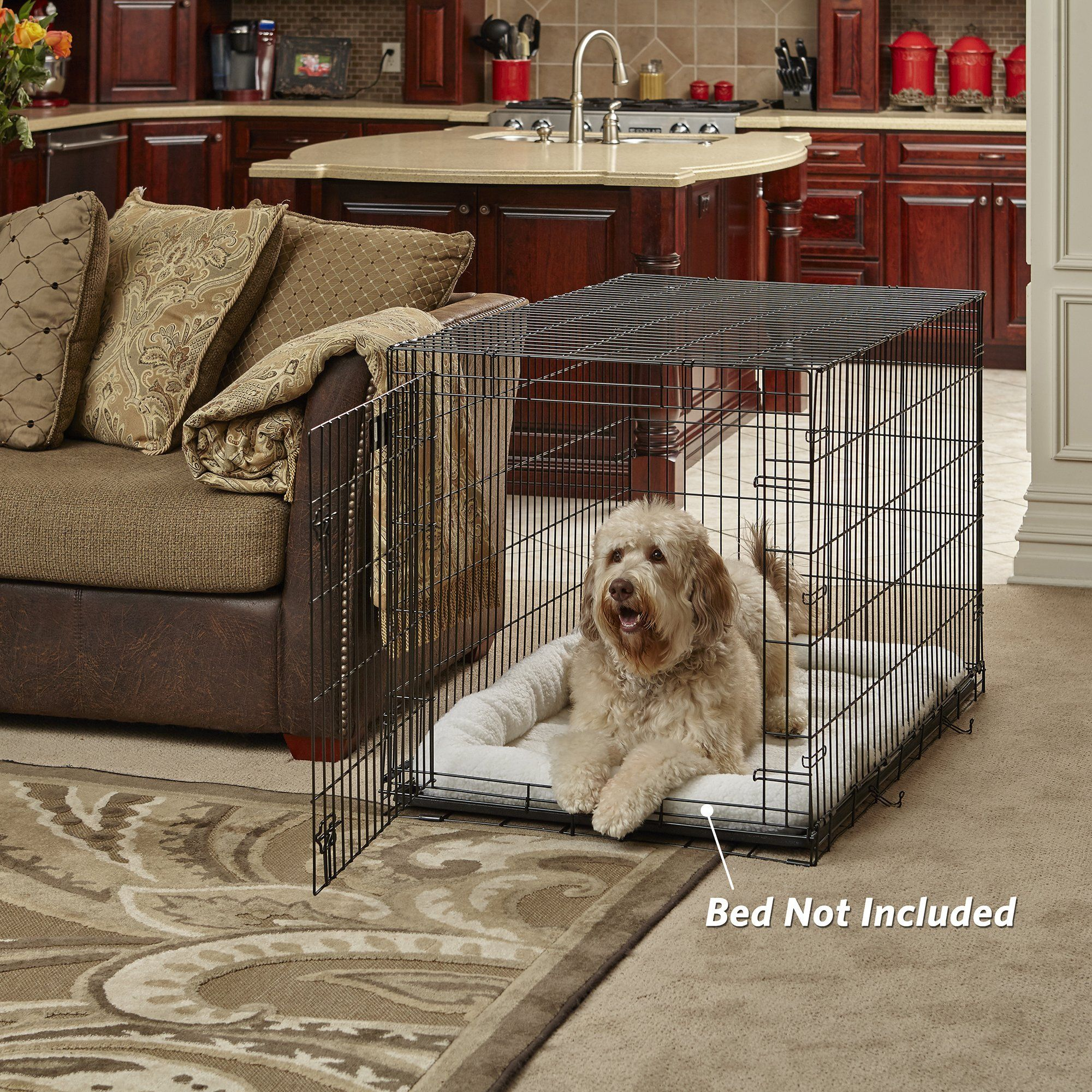 New World 42 Folding Metal Dog Crate Includes Leakproof Plastic