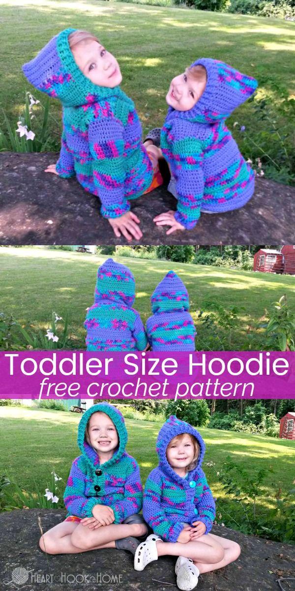Toddler Hoodie Free Crochet Pattern (size 2/3T) | Strickideen und Häkeln