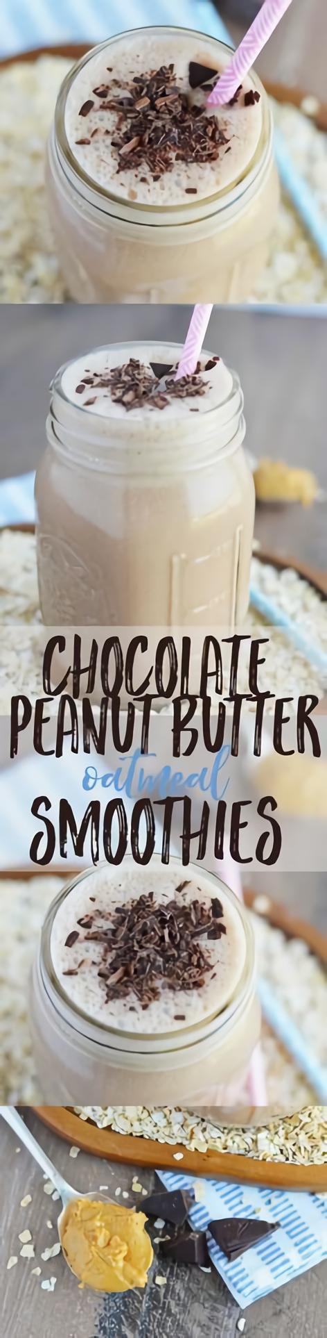 Chocolate #Peanut #Butter #Oatmeal #Smoothies #chocolatestrawberrysmoothie