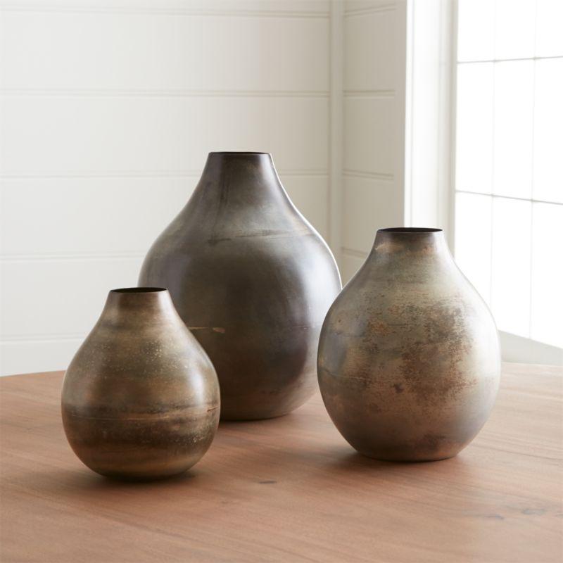 Bringham Metal Vases Crate And Barrel In 2020 Metal Vase