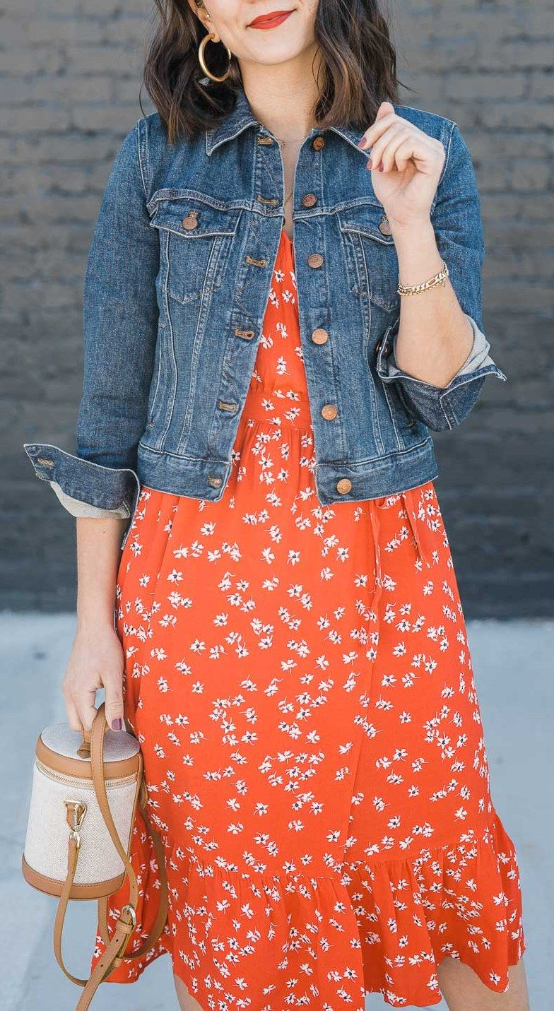 Red Summer Outfit Ideas An Indigo Day Trendy Dress Outfits Denim Jacket With Dress Western Wear Outfits [ 1431 x 784 Pixel ]