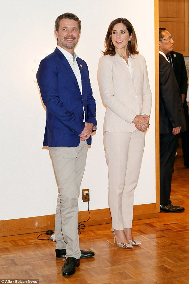 12 October 2017 - Royal tour to Japan (day 5): Danish exhibition at the Embassy of Denmark, Tokyo - suit by Massimo Dutti