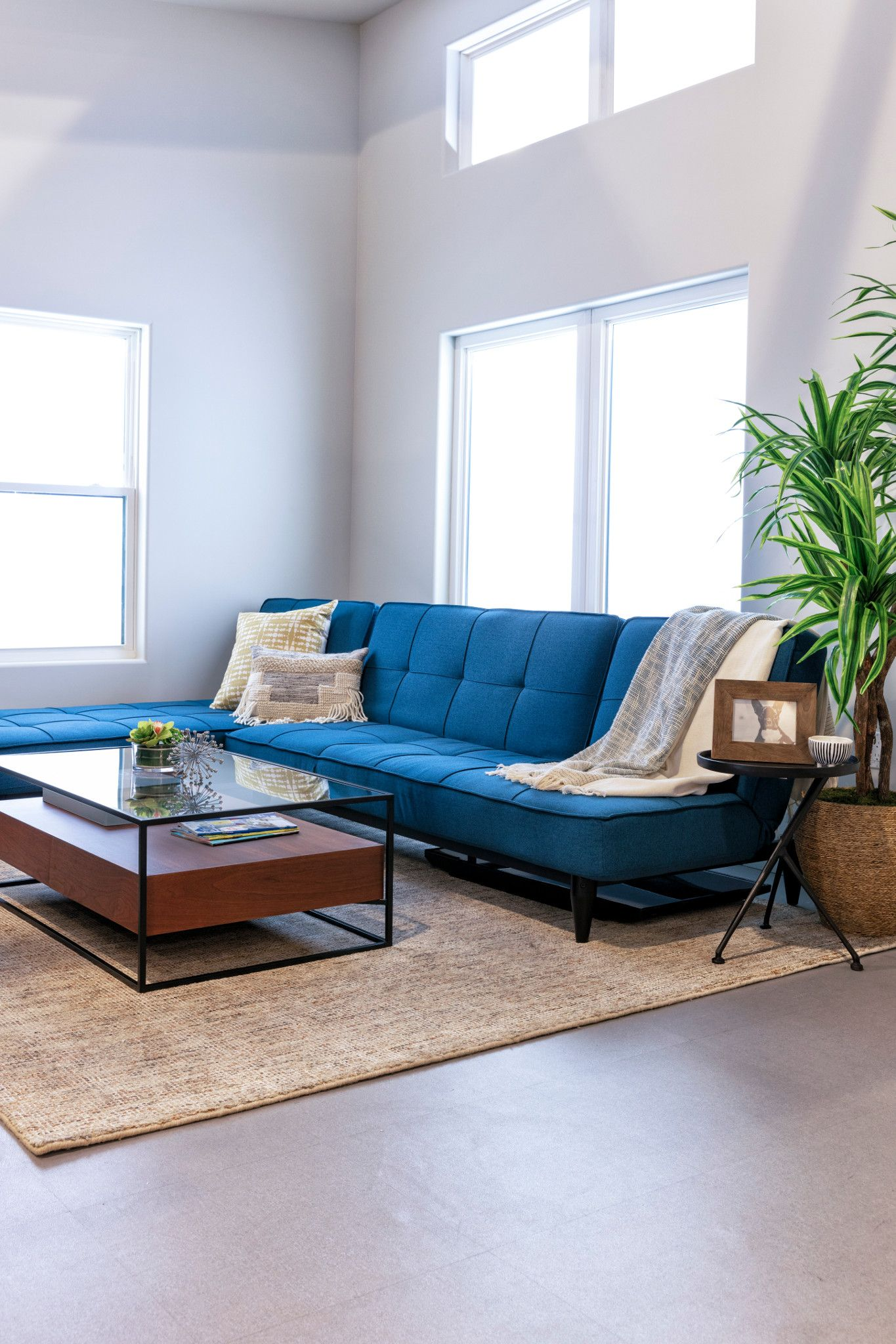 Paige Blue Convertible Sofa Chaise Sleeper Simple Living Room Luxury Living Room Room Layout Design