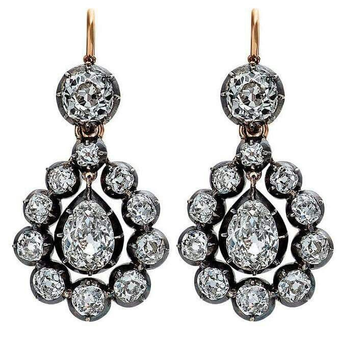 Victorian English Diamond Silver Gold Drop Earrings - With a total weight of approximately 8.10 carats of diamonds (D-H color), the English Victorian earrings, circa 1890, are mounted in blackened silver with a gold top wire.