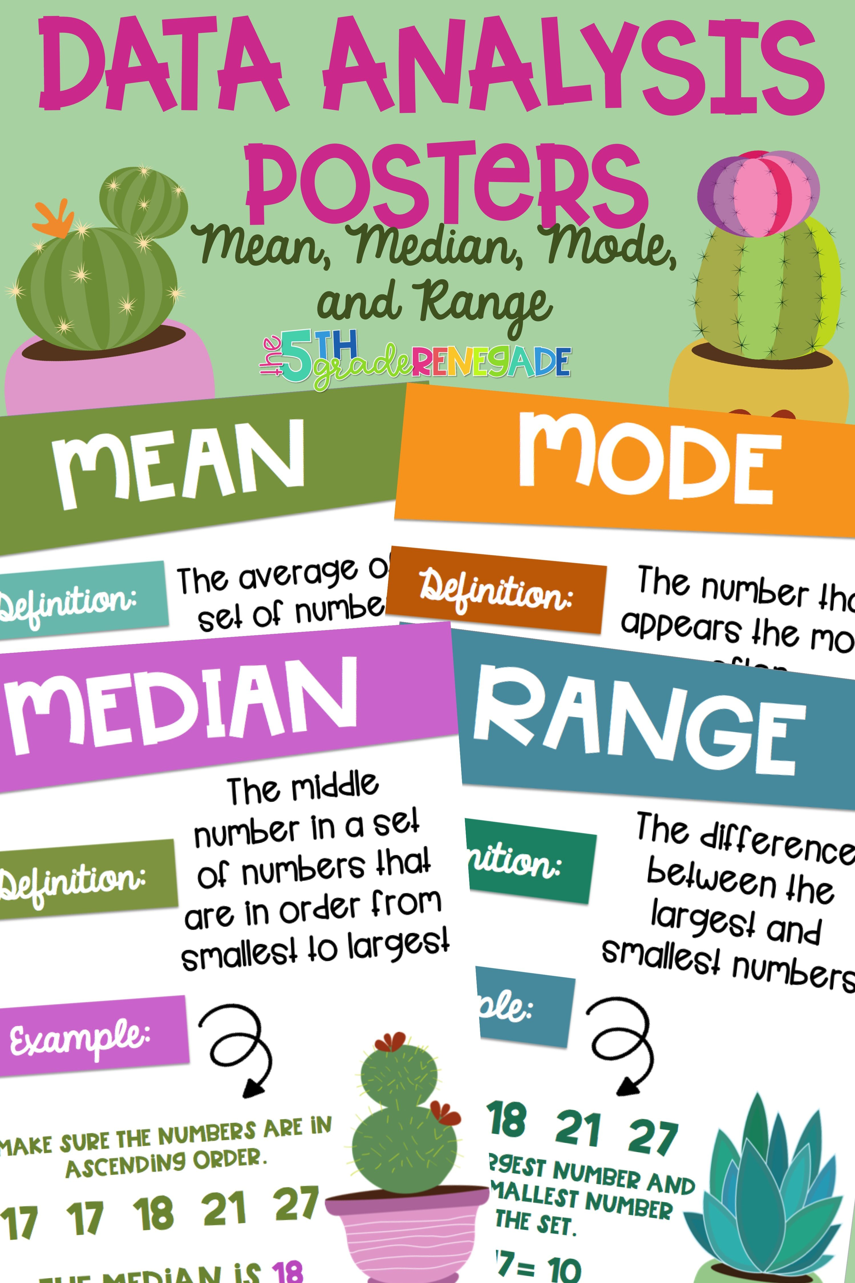 Data Analysis Math Posters mean, median, mode, range with a Cactus ...
