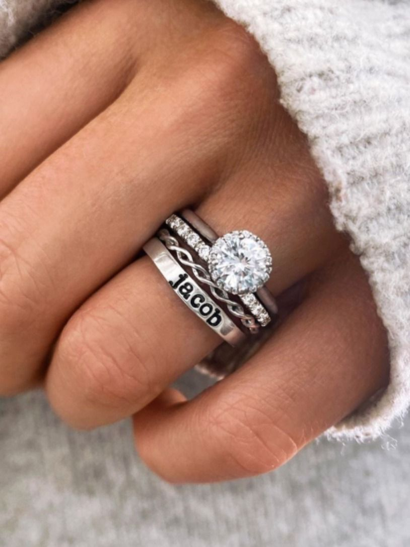 Halo Twine Diamond Ring Stack In 2020 Dream Engagement Rings Wedding Rings Engagement Wedding Ring Sets