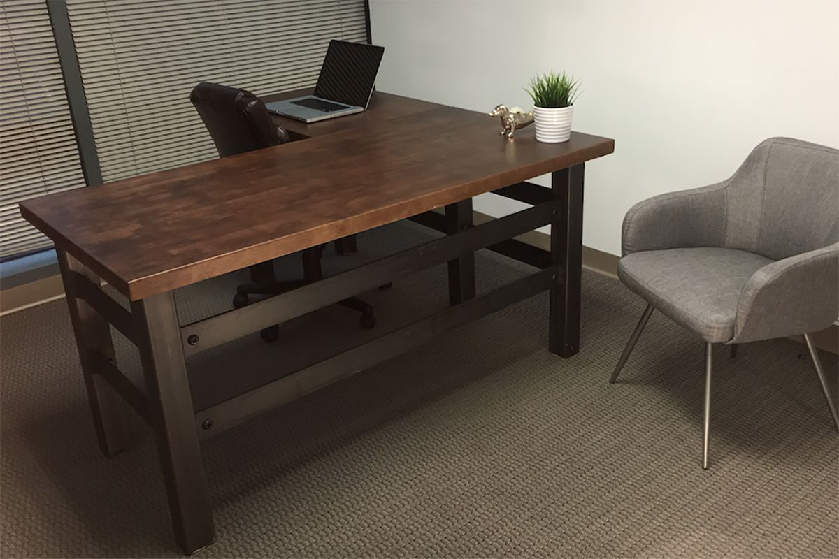 industrial style office desk. L Shape Brooklyn Industrial Office Desk Combining A Clean Cut Carbon Steel Frame With Maple Butcher Block Surface To Creates Modern Style Y