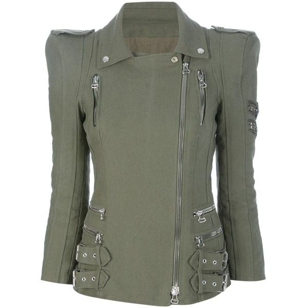 BALMAIN Padded shoulder army jacket ($2,340) found on Polyvore