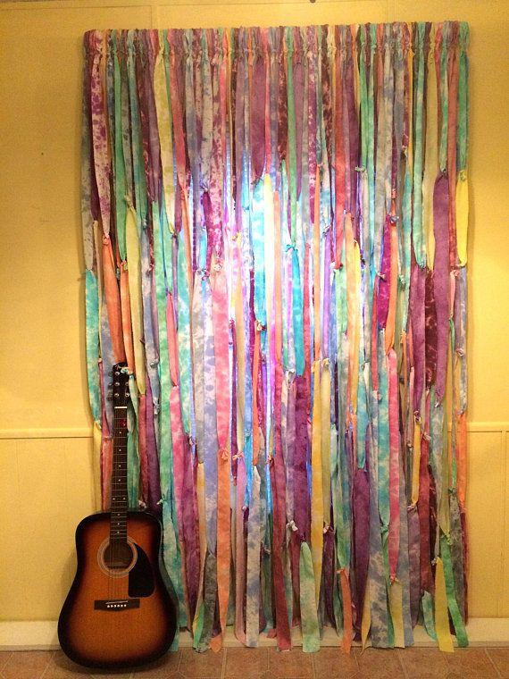 Multi Color Tie Dyed Hippie Curtains Gypsy Boho Closet Curtain Doorway Shabby Shower Cu