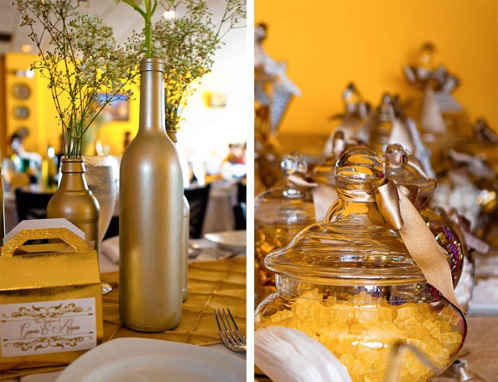 DIY Spray paint Pellegrino bottles and wine bottles for