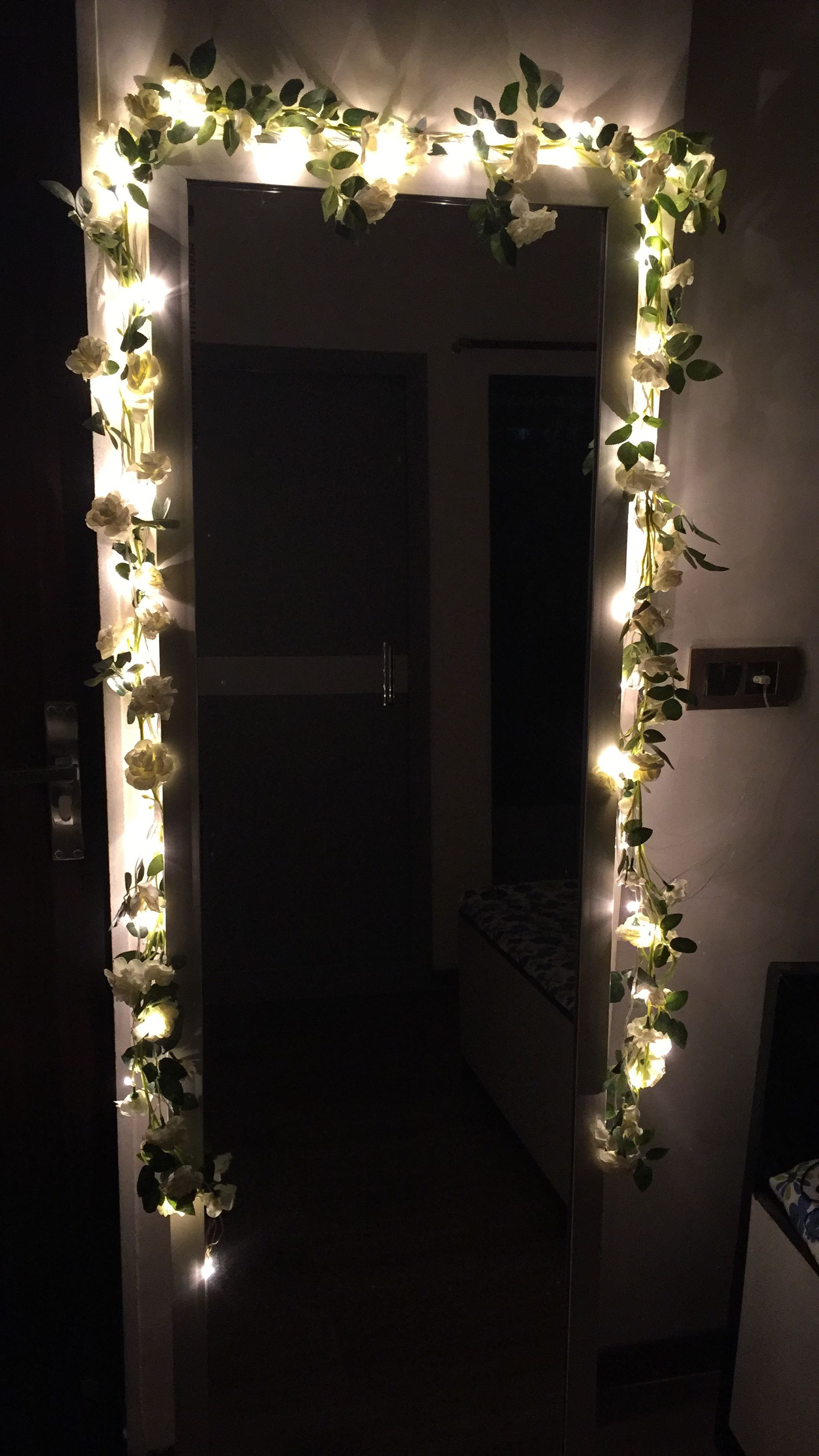 Mirror Decor At Home Using Fairy Lights White Flower Vails Aesthetic Room Decor Mirror Decor Aesthetic Rooms