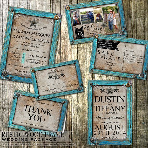 Rustic Wedding Invitation And Stationery Set Rustic Turquoise Frame On Tan  Leather Country Wedding Invitation Printable DIY Invitation