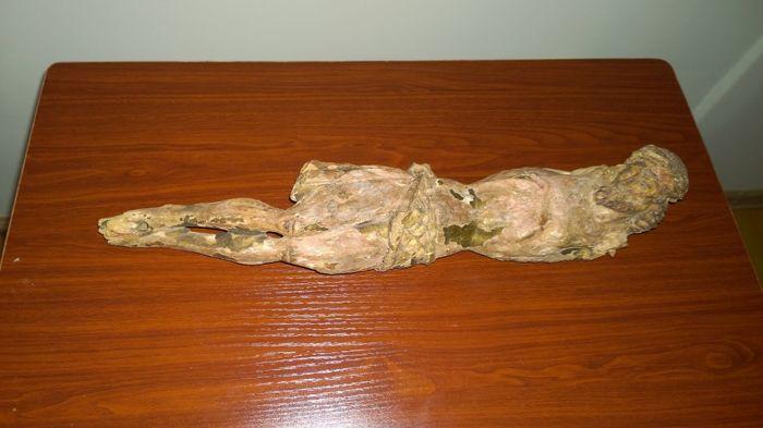 Polychroom houten Corpus Christi - waarschijnlijk XVI/XVIIe eeuw  Polychroom houten Corpus Christi - waarschijnlijk uit de XVIe of XVIIe eeuwHoewel aanzienlijke oud veel van de details zijn zichtbaar (zelfs doorboorde zijde)Helaas zonder armen en met polychromie verliezen geen restauratie pogingenLengte - 44 cmGewicht - 0.365 kg  EUR 36.00  Meer informatie