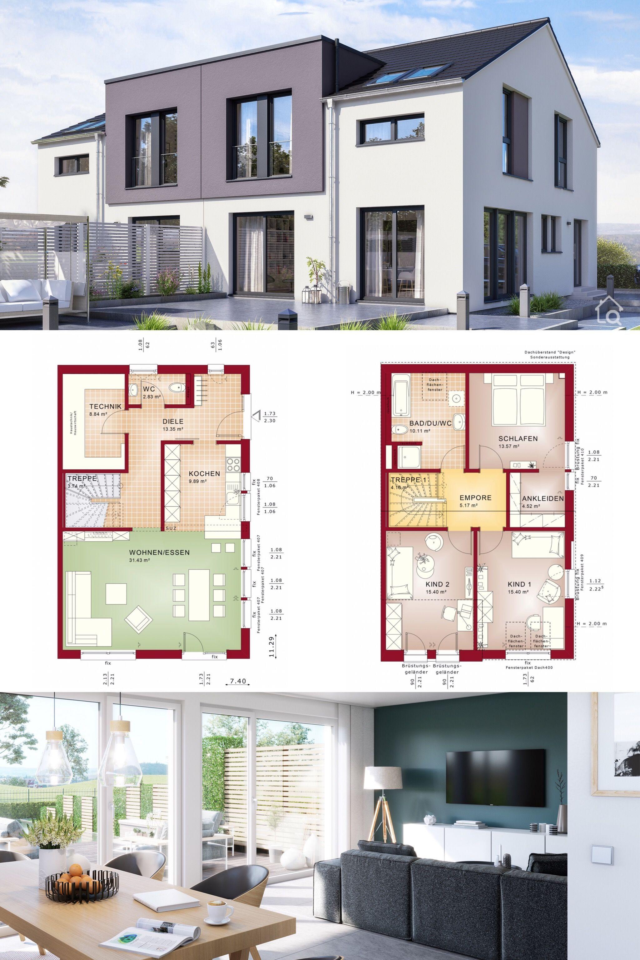 Modernes Doppelhaus Grundriss mit 4 Zimmer & Satteldach