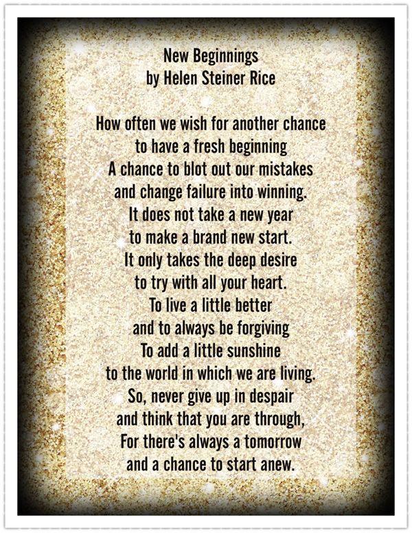New Beginnings ~ by Helen Steiner Rice | Favorite Poems ...