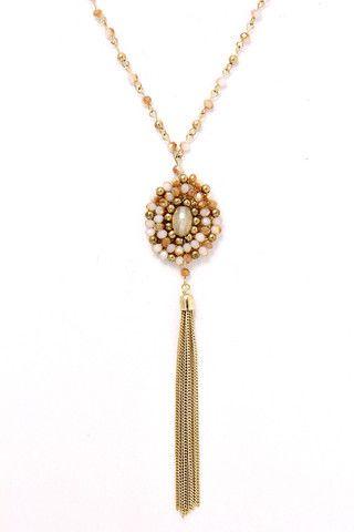 a15d018cbeb7 Collar Largo Rosa Dorado -Chic Bazaar
