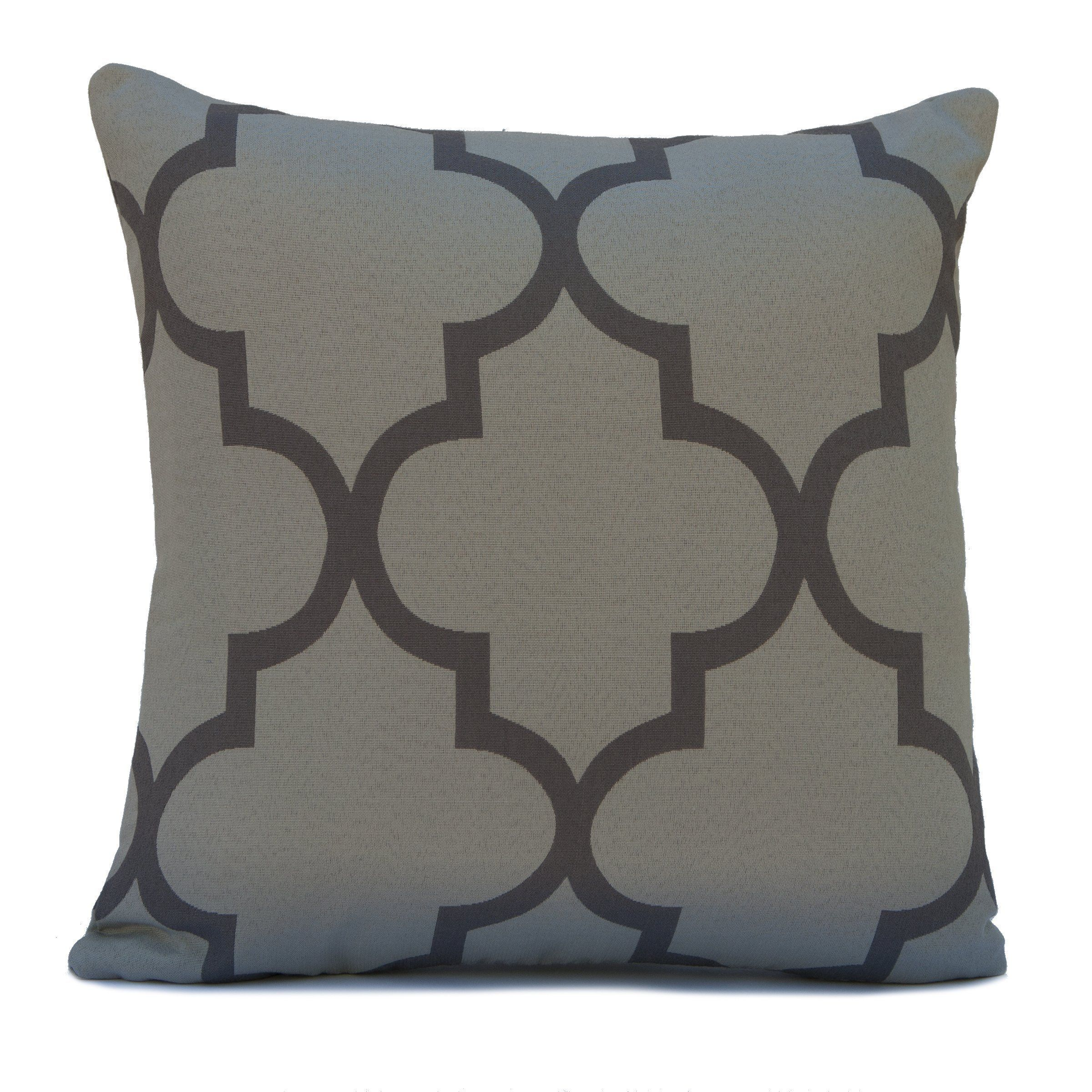 Light and dark grey cotton blend decorative throw pillow cover with