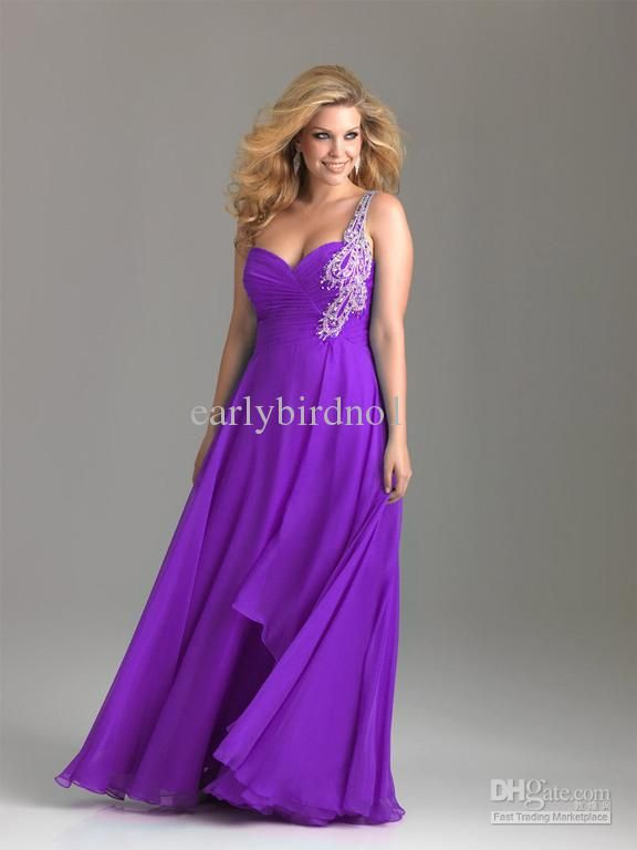 Wholesale Plus Size Dresses 2013 Sexy Cheap New One Shoulder Rhinestones Chiffon Purple Bridesmaid Dress 6513W, Free shipping, $147.73/Piece | DHgate Mobile