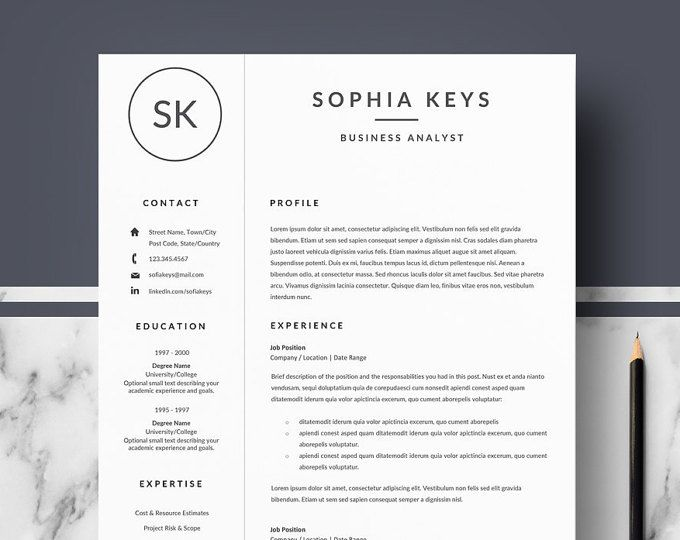 Professional Resume Template Modern Resume for Word CV Template
