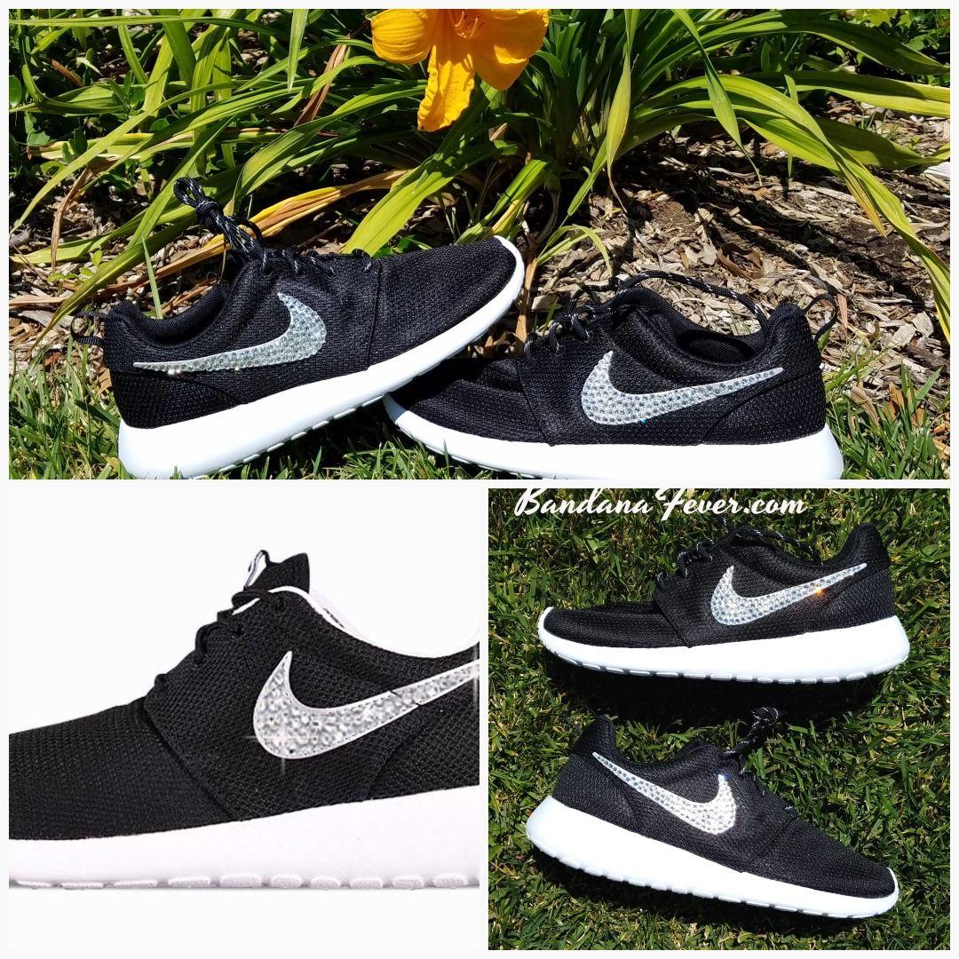 2b4eab8345f3 Bandana Fever Bling Rhinestone Custom Black Nike Roshe Shoes  shopping   style  bandana