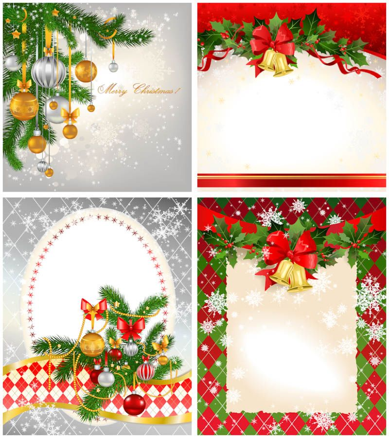 2012 Christmas Card Templates Vector. Set Of 4 Beautiful New 2012