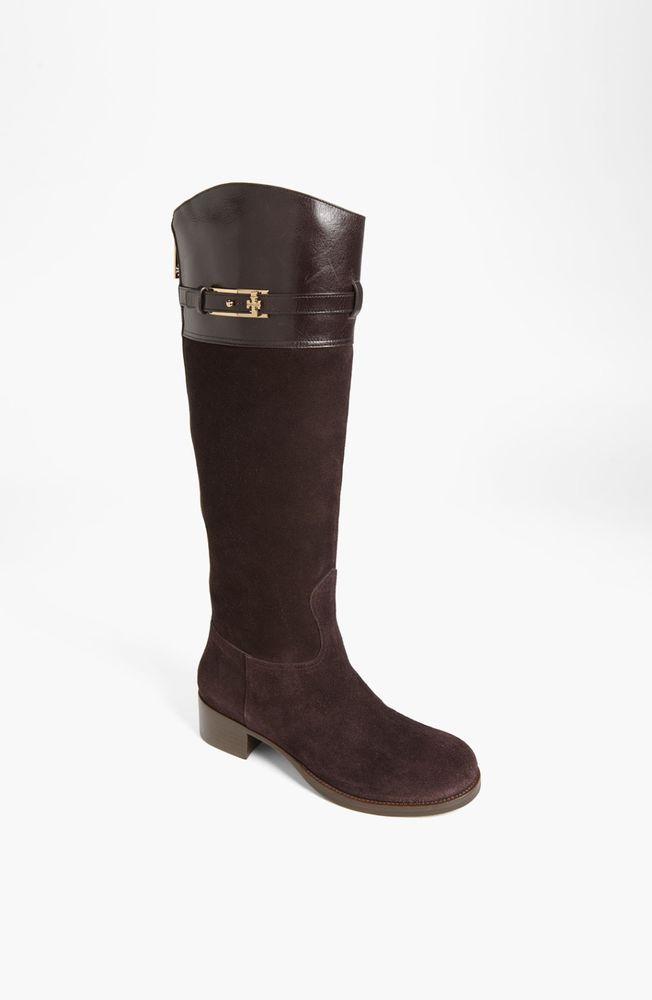 5d177d0e70a78b New Tory Burch Womens Espresso Logo Suede Leather Knee High Jenna Riding  Boots 8  ToryBurch  RidingEquestrian