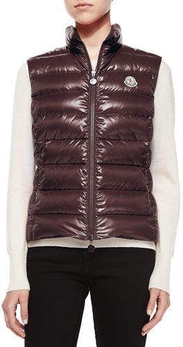 676808b98 Moncler Ghany Shiny Quilted Puffer Vest | Products | Puffer vest ...