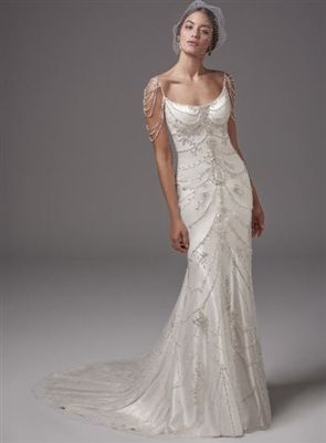 1d9c43c9682 This vintage-inspired Ava satin sheath features ribbons of pearl and  Swarovski crystal embellishments