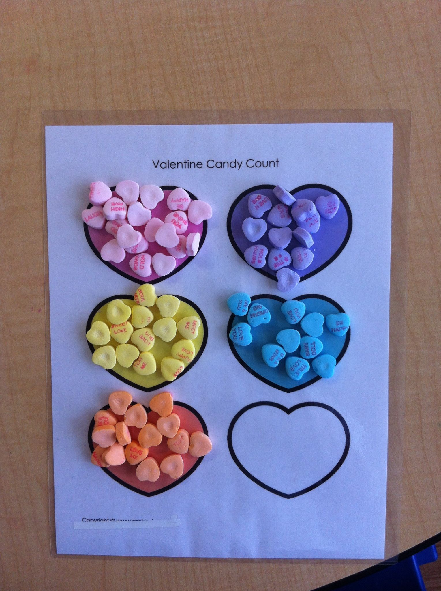 Sorting Candy Hearts By Color During Center Time