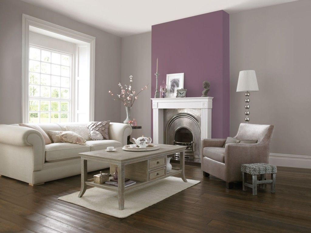 Crown paint cover story and hare this is what we have for Purple feature wallpaper living room
