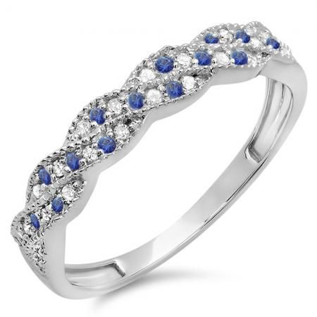 Share for $20 off your purchase of $100 or more! 0.25 Carat (ctw) 10k White Gold Round White Diamond & Blue Sapphire Ladies Anniversary Wedding Stackable Band Swirl Ring 1/4 CT - Dazzling Rock #https://www.pinterest.com/dazzlingrock/