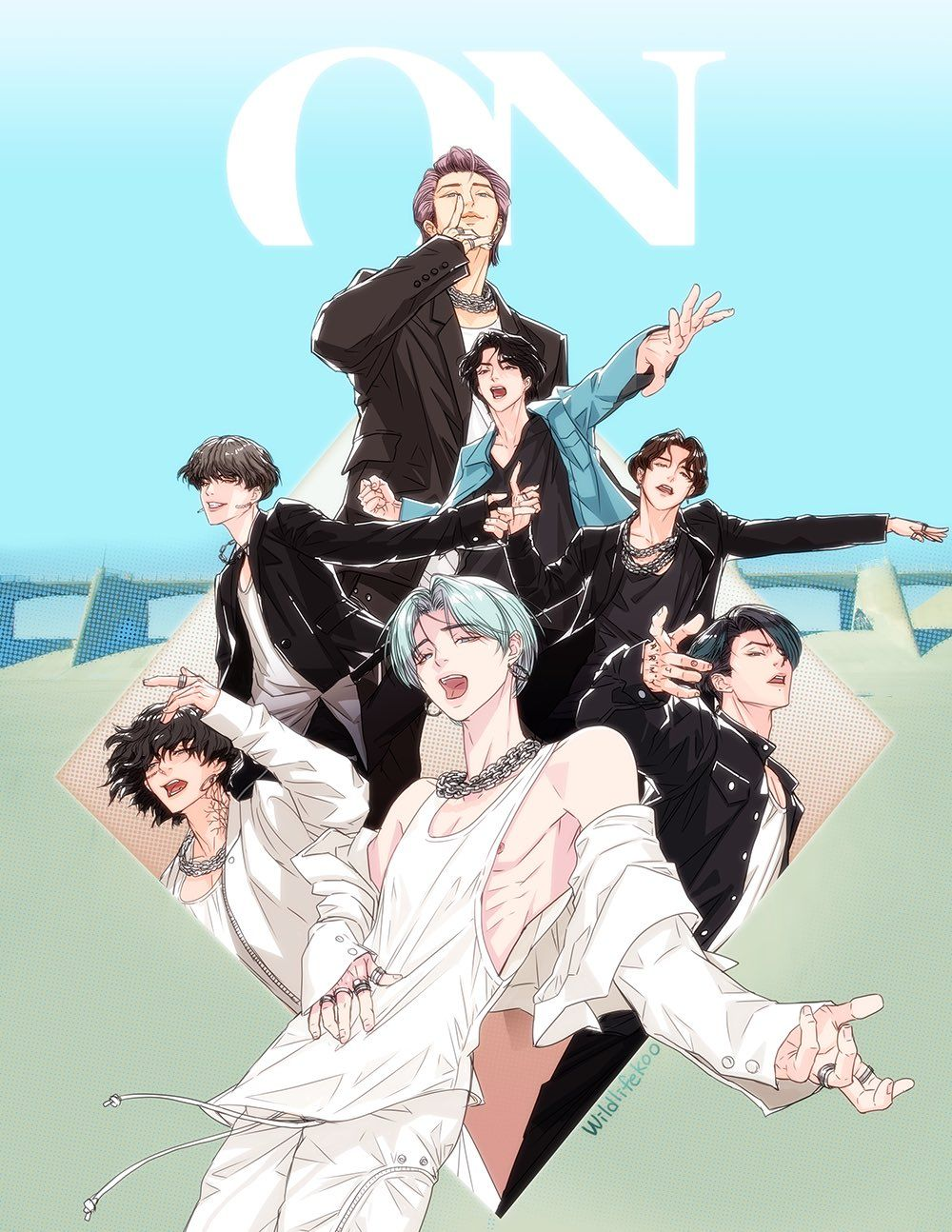 Bts anime wallpaper hd