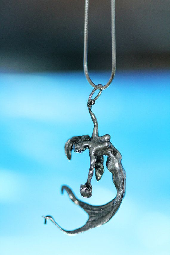 mermaid necklace solid sterling antique finish 18 sterling snake chain made in nyc. Black Bedroom Furniture Sets. Home Design Ideas