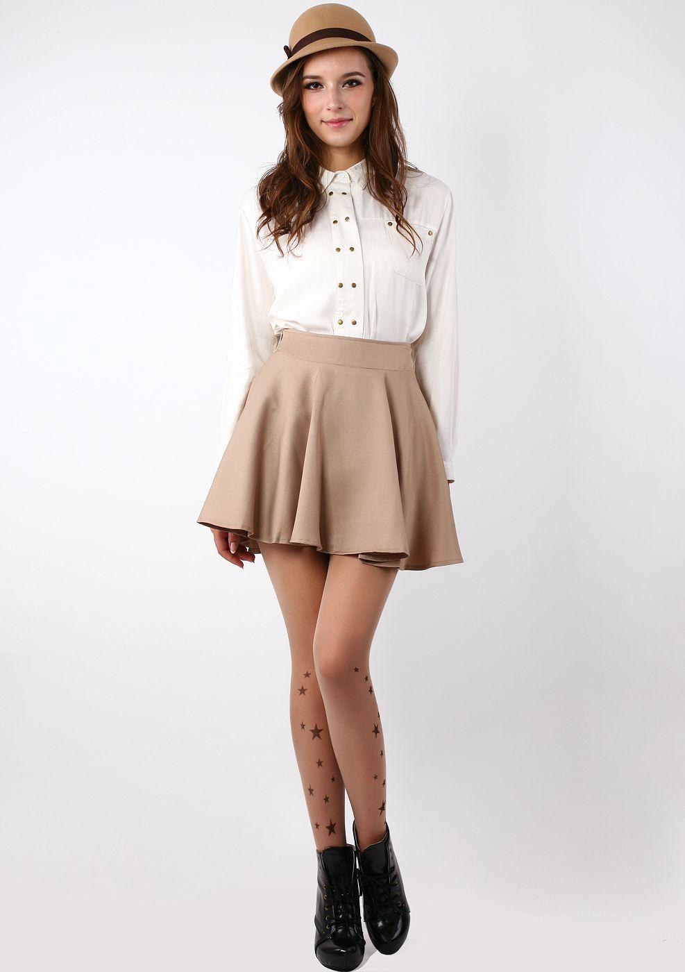 Khaki Skater Skirt - Bottoms - Retro Indie and Unique Fashion   Fall Fashion CO-OPhx ...