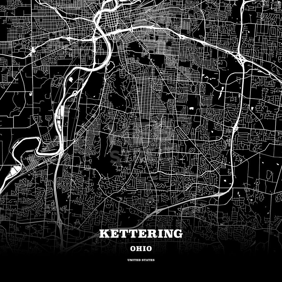 Black map poster template of Kettering, Ohio, USA | HEBSTREITS Maps and  Sketches | Poster template, Map poster, Kettering