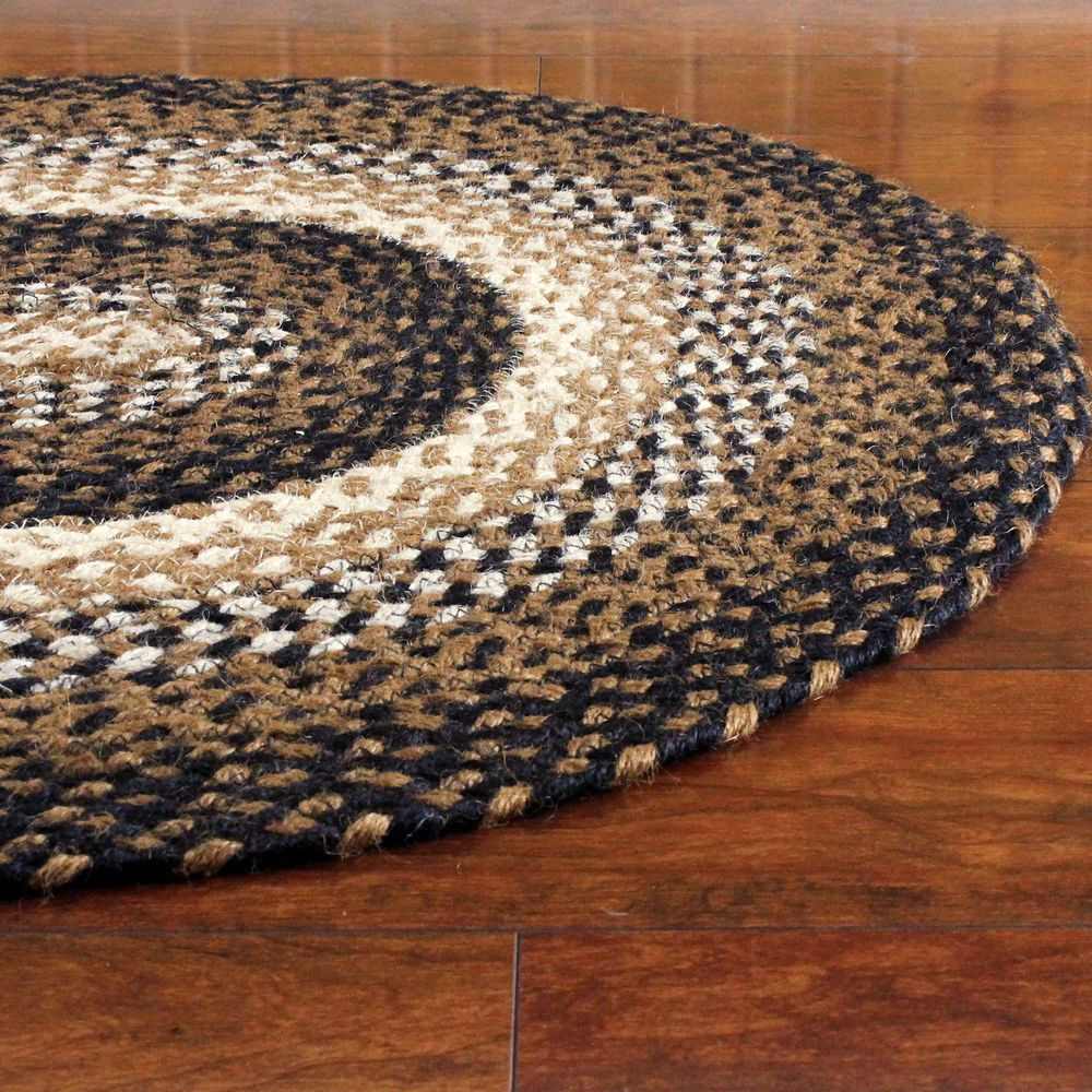 Braided Area Rug Black Tan Cream Oval Rectangle Primitive Country Stallion New Ihfrugs