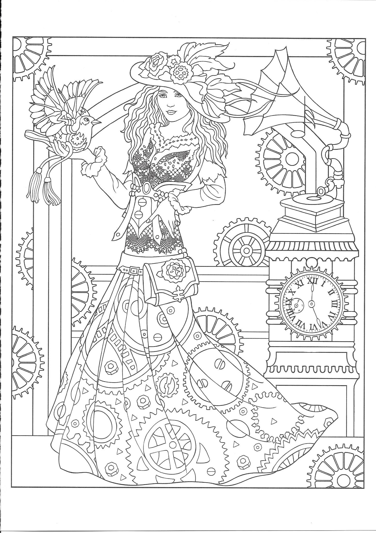 Dover Publications Creative Haven Steampunk Fashions Coloring Book Artwork By Marty Noble P19