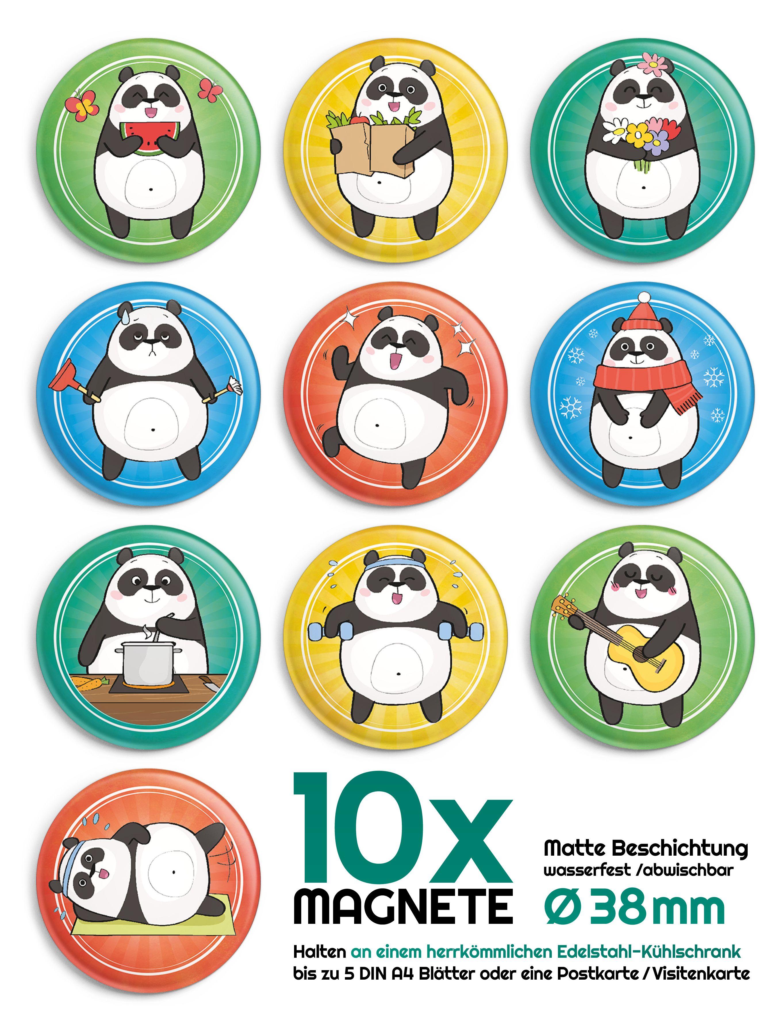 Whiteboard Magnettafel 10 lustige Panda Magnete für den Kühlschrank 38mm Ø