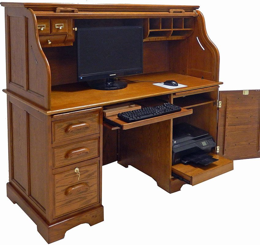 ROLL TOP COMPUTER DESKS | Home > Roll Top Desks > Oak Roll Top Computer Desk - 59