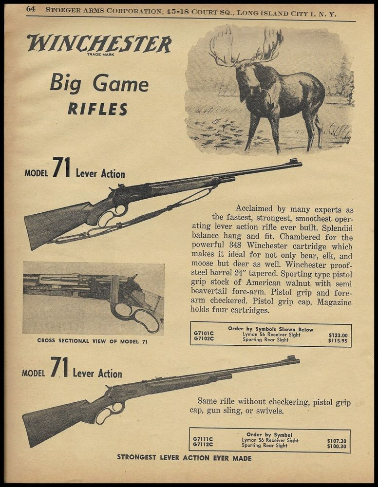 1955 Winchester Model 71 Lever Action Big Game Rifle Ad Woriginal
