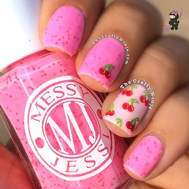 Cherry Nails by Instagrammer @thecraftyninja