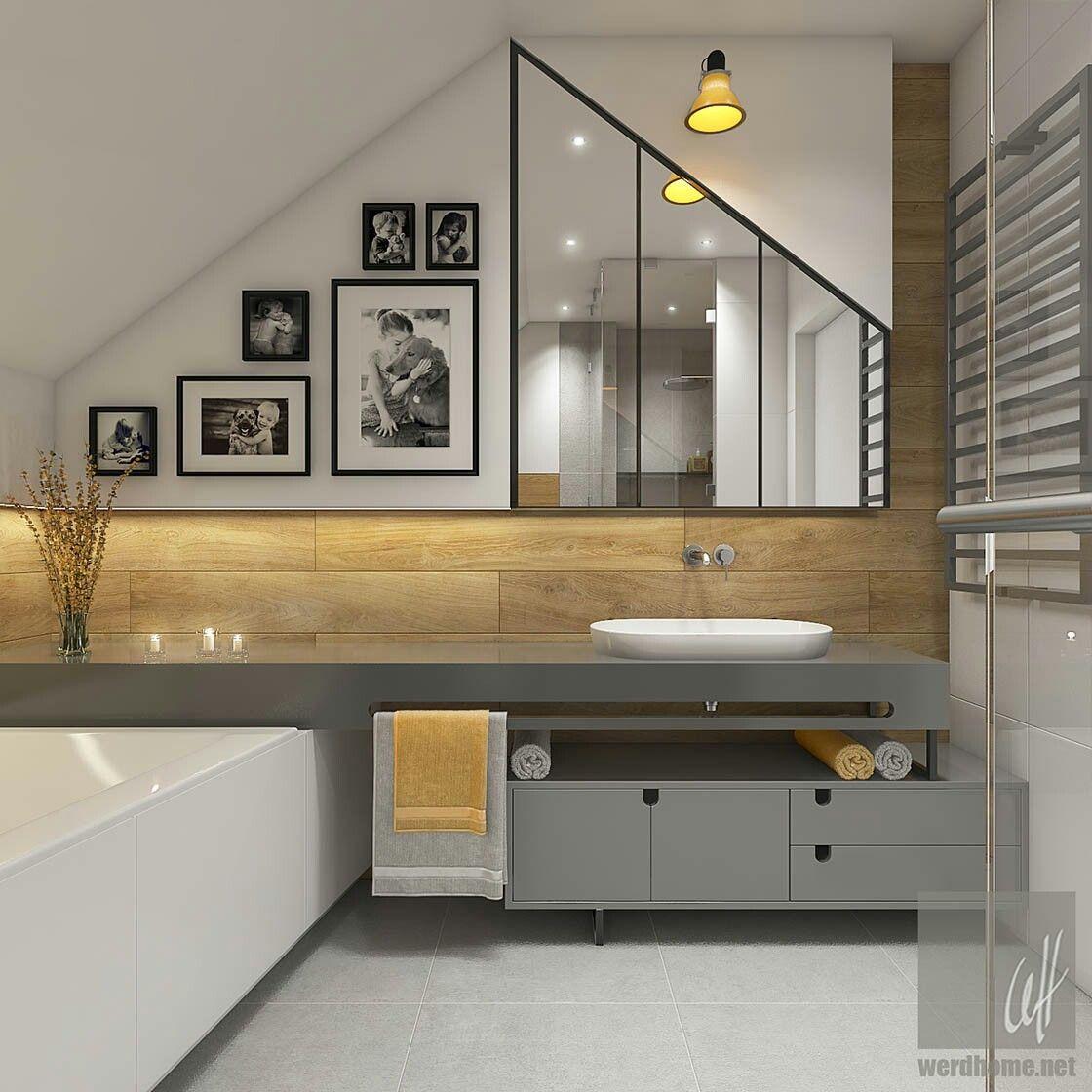 Badezimmer, Inneneinrichtung, Haus, Wohnen, Modernes Badezimmerdesign, Moderne  Badezimmer, Waschraum, Dachboden, Zukünftiges Haus