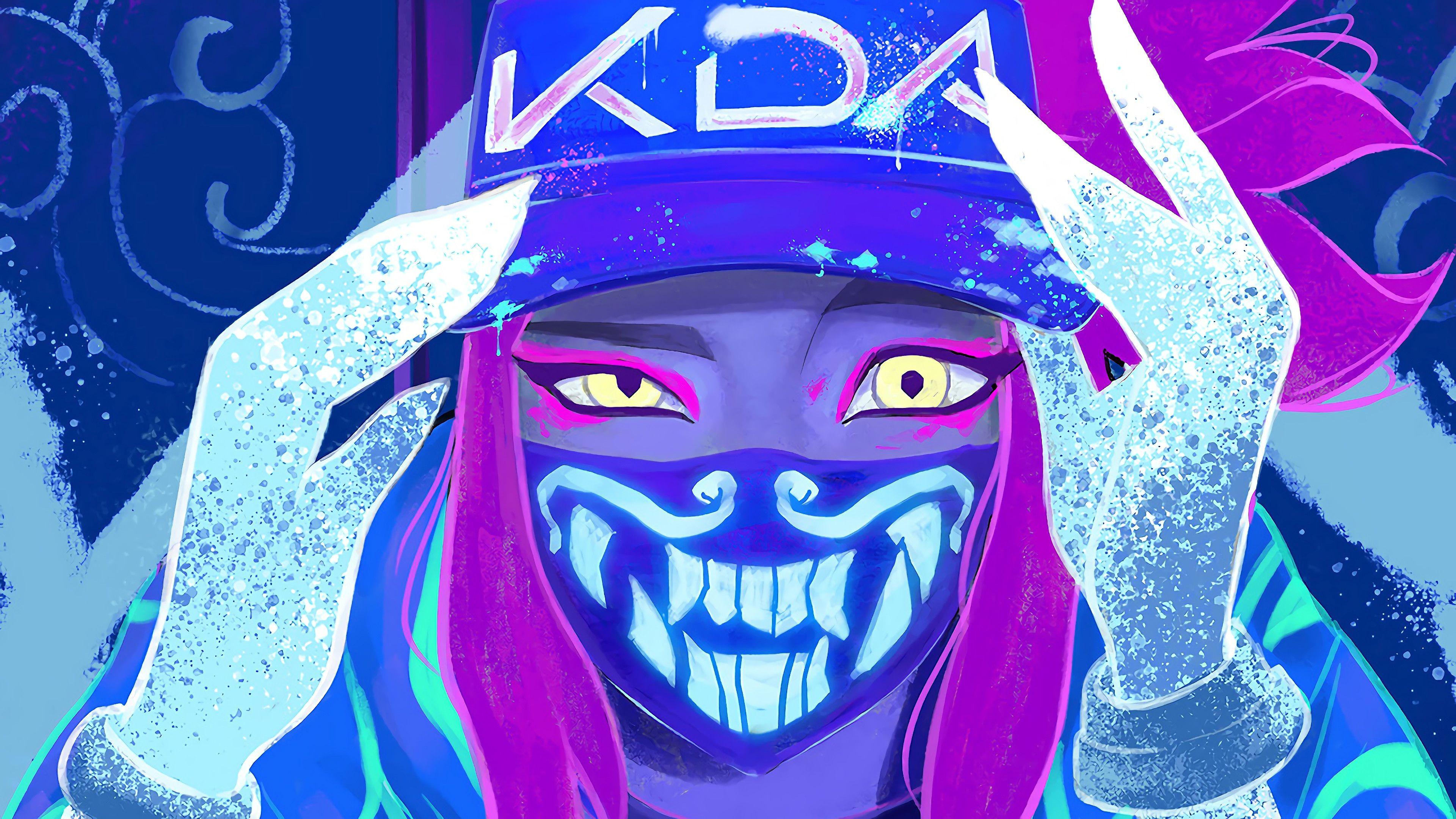K Da Akali Mask Neon Lol League Of Legends Lol League Of Legends K Da Akali K Da League Of Legends Akali In 2020 Digital Painting Neon Wallpaper Digital Wallpaper