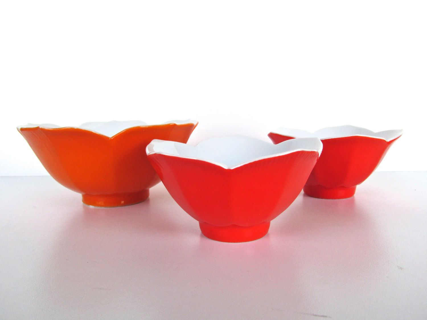 Yellow and White Soup Cereal Bowl BOWL Vintage Brightly Colored Reddish Orange