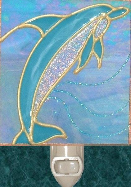 Stained Glass Dolphin Night Light Plug In Wall Unique Artistic