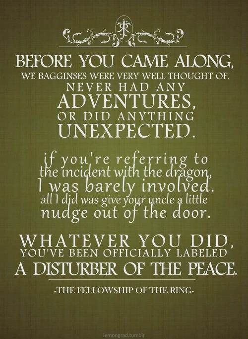"""""""Whatever you did...you've officially been labeled a disturber of the peace."""" :)"""