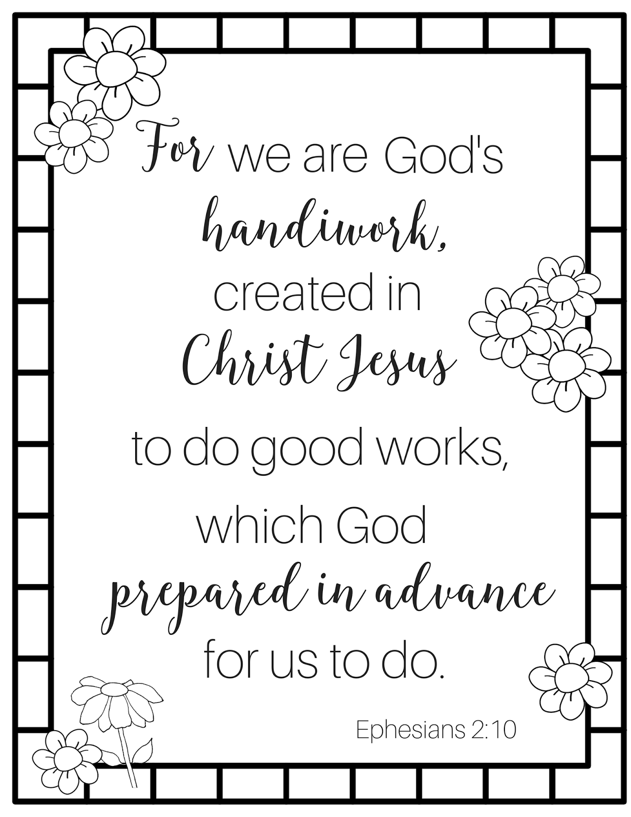 For We Are God S Handiwork Coloring Page
